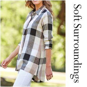 Soft Surroundings Linen Carreaux Flannel Blouse